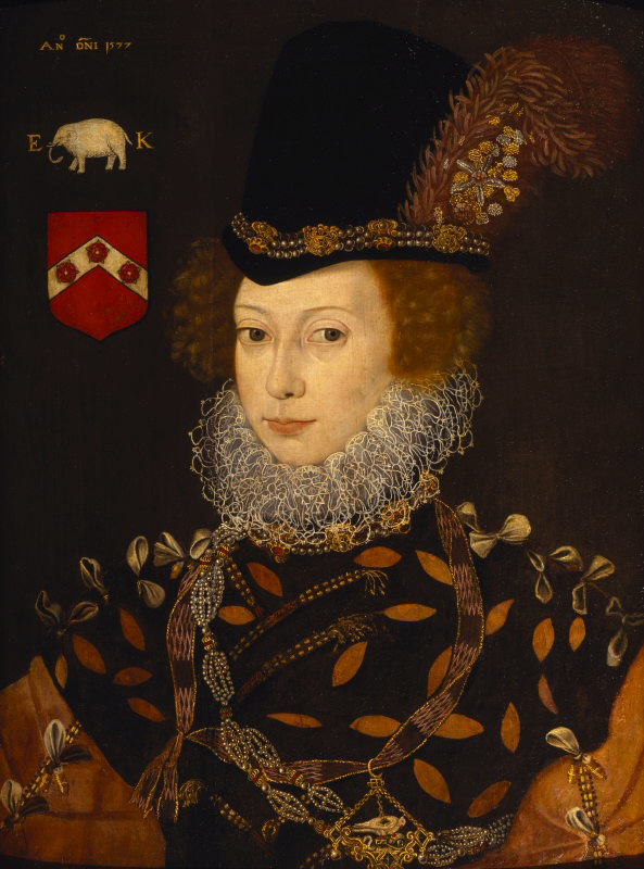 ELIZABETH KNOLLYS, LADY LAYTON attributed to George Gower, 1577, 24 x 27 & 3/4 inches (61 x 70.5 cm) in the Dining Room at Montacute. Credit: Montacute, Sir Malcolm Stewart bequest, The National Trust.