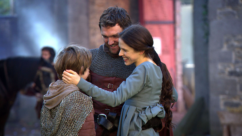 Margaret Beaufort embraces her son Henry Tudor and her brother in law Jasper