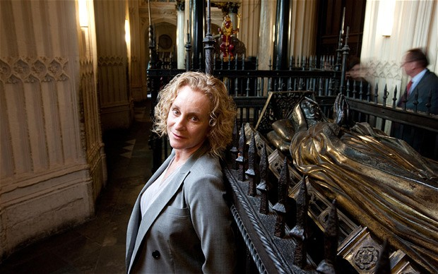 Philippa Gregory standing next to Margaret Beaufort's tomb in Westminister Abbey www.telegraph.co.uk